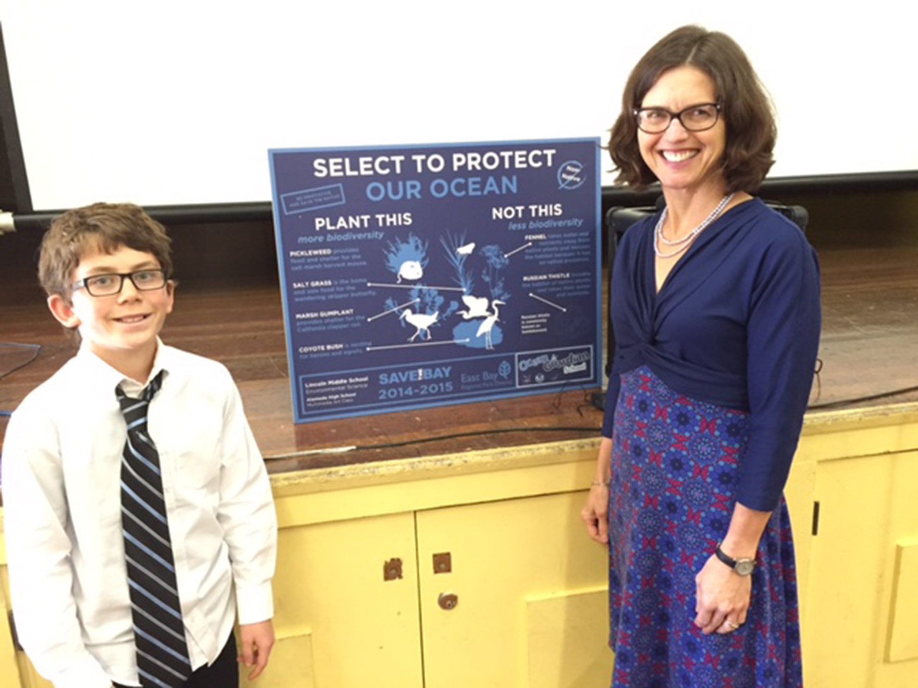Susan Davis  Lincoln Middle School seventh-grader Ezra Frary and science teacher Jennifer Hartigan represented Lincoln Middle School in receiving recognition for the school's activities in the two-year-old Ocean Guardian program.