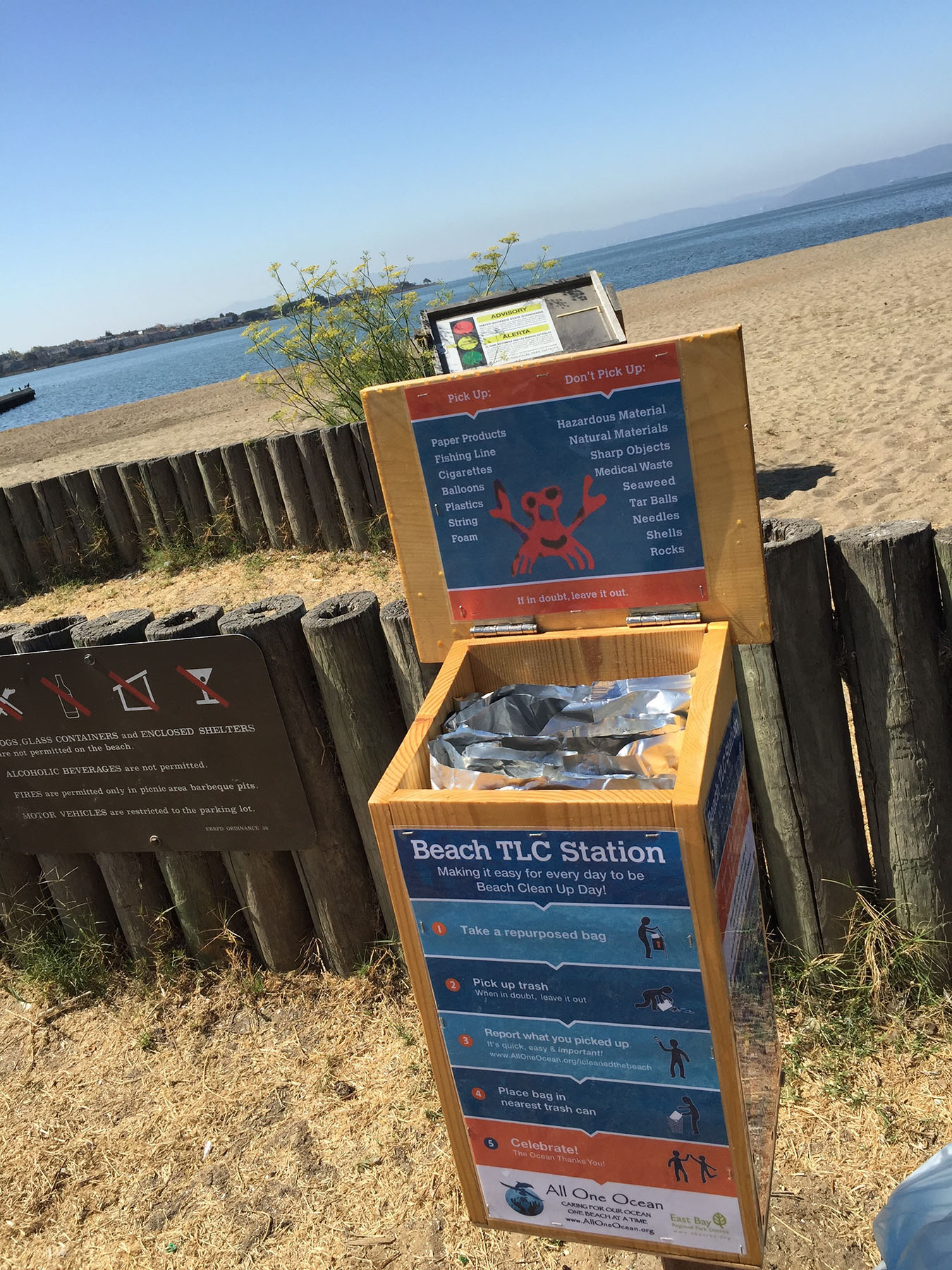 Courtesy photographs  Visitors to Alameda beaches can find three boxes like this one along the shoreline encouraging cleanup by every day users of the beach.
