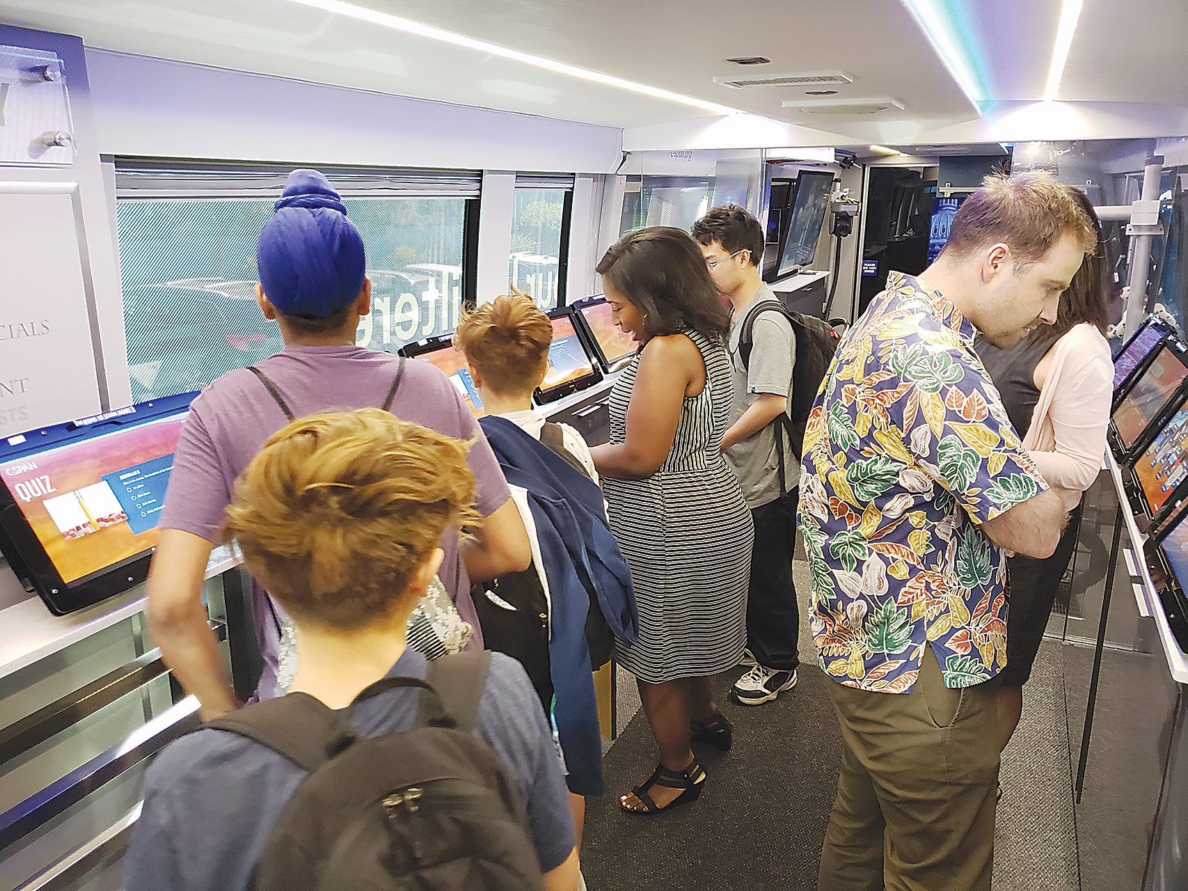 Eric J. Kos &nbsp&nbsp Several Encinal High School students and teachers toured the inside of the C-SPAN bus April 24.