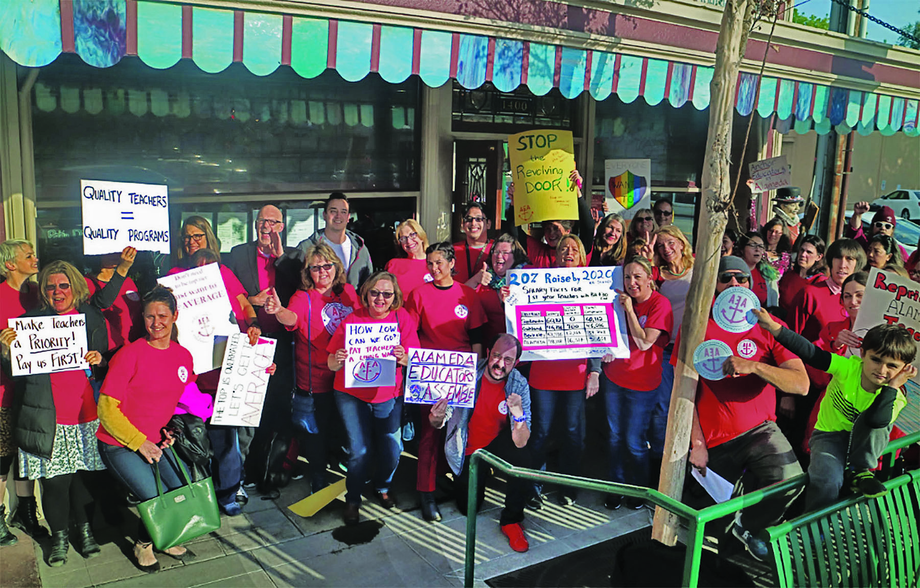 Dennis Evanosky &nbsp&nbsp Alameda public school teachers prepare to march on the school board meeting last Monday. They hoped to make their voices heard at the meeting that discussed next year's budget.