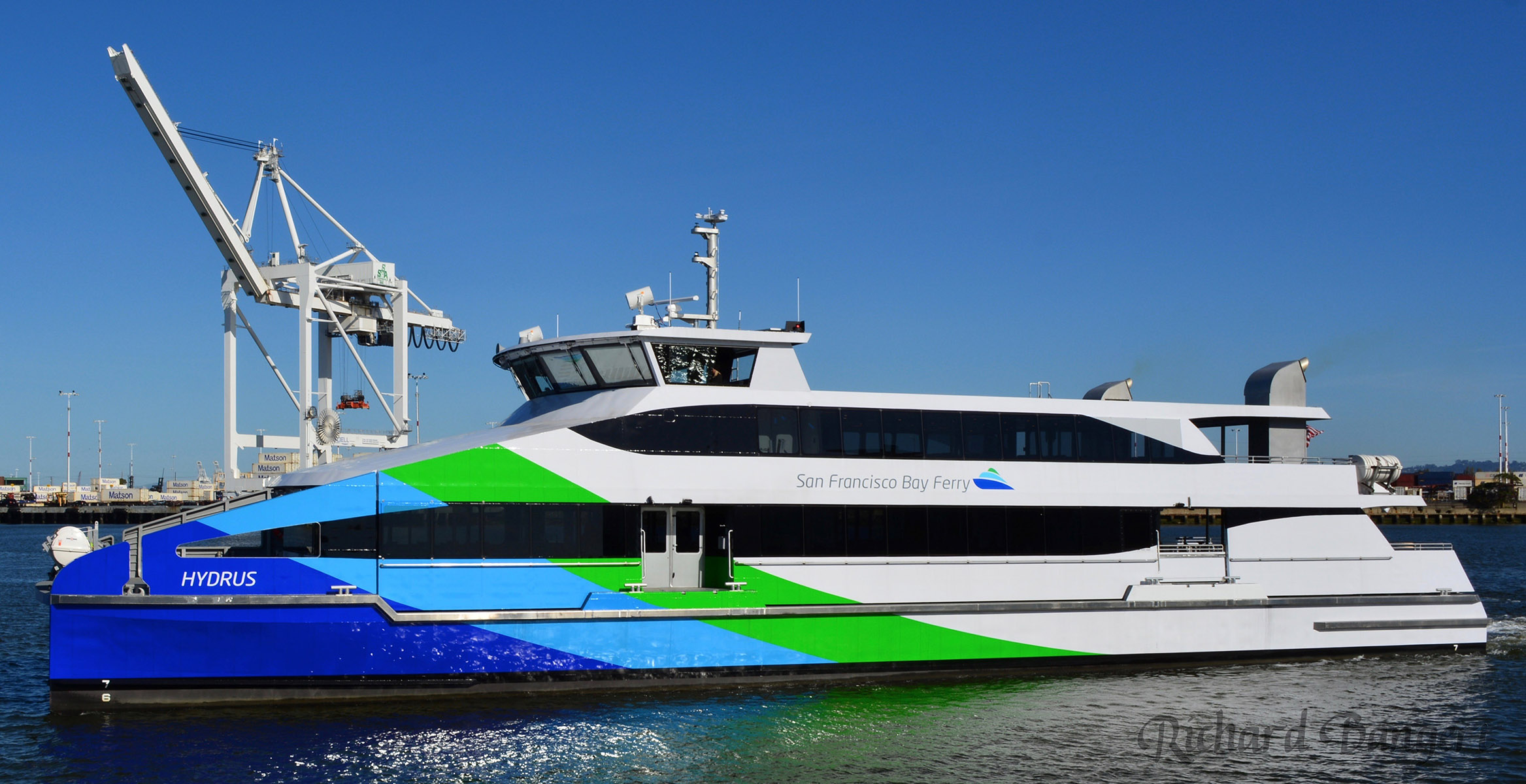 Richard Bangert  MV Hydrus ferry during training exercises in the Oakland Estuary March 28. The Hydrus is scheduled to begin service from the Main Street Terminal and Jack London Square to San Francisco in the next couple of weeks.
