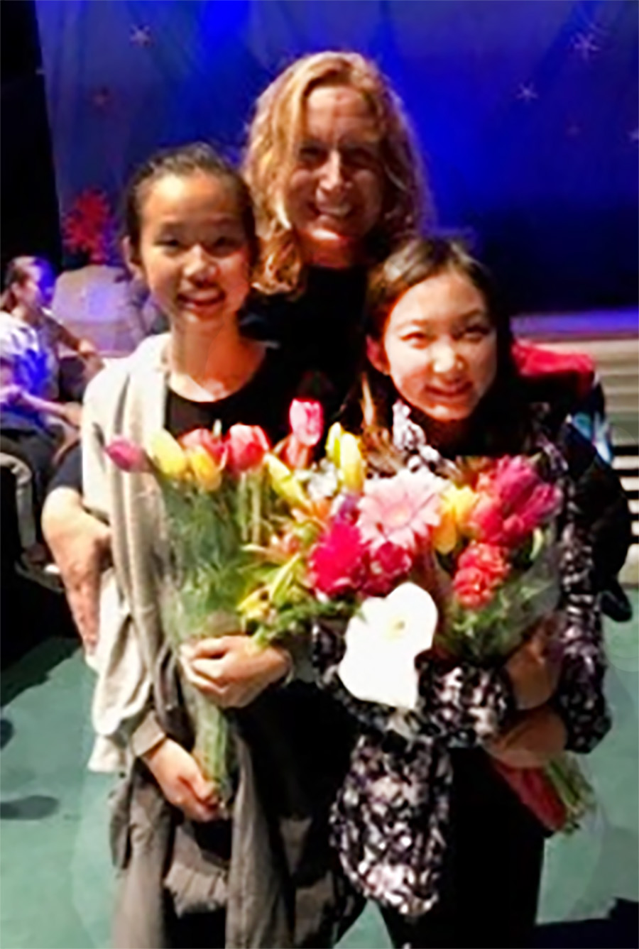 Alameda Unified School District &nbsp&nbsp Alameda Unified School District's 2018 Teacher of the Year Mary Otieku takes a moment with two of her current students, Kathleen Tang and Jalyn Kwong.