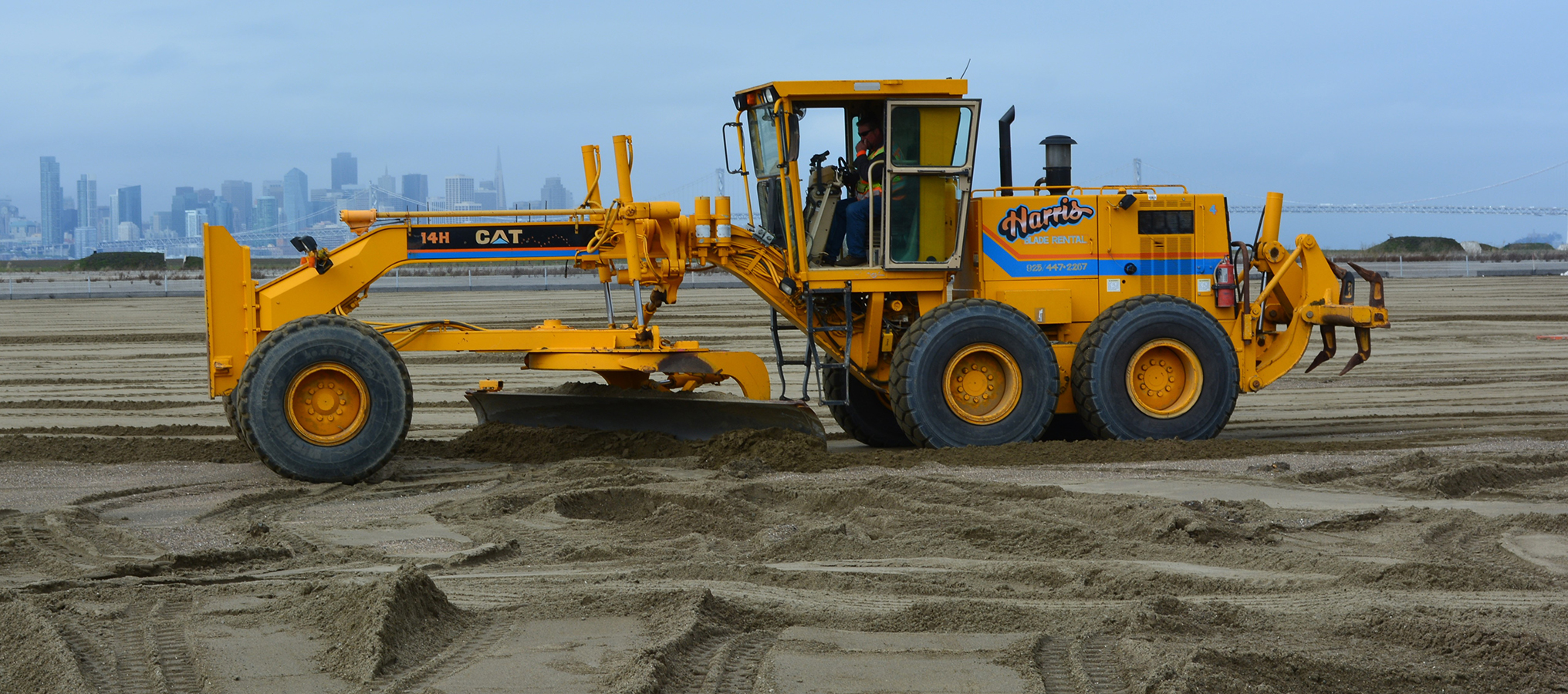 Richard Bangert  The city of San Francisco provides a backdrop for a road grader smoothing out sand on the least tern nesting site at Alameda Point. The Water Emergency Transportation Authority funded the sand delivery as mitigation for the impacts of ferry traffic at its new maintenance facility planned for Alameda Point.