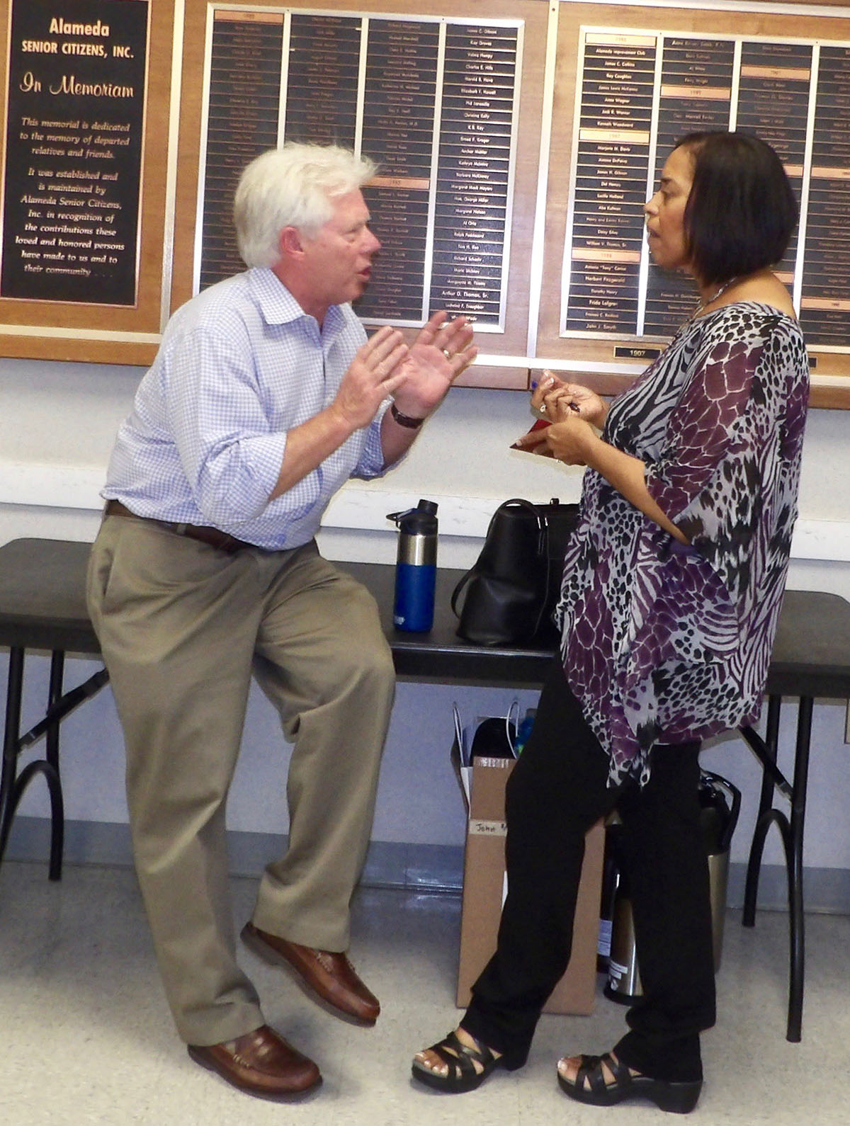 Fred Gardner &nbsp&nbsp&nbsp Neil Hall of the SCI Consulting Group hashed out details with the city's Economic Development Manager Lois Butler at last Sunday's forum on cannabis.