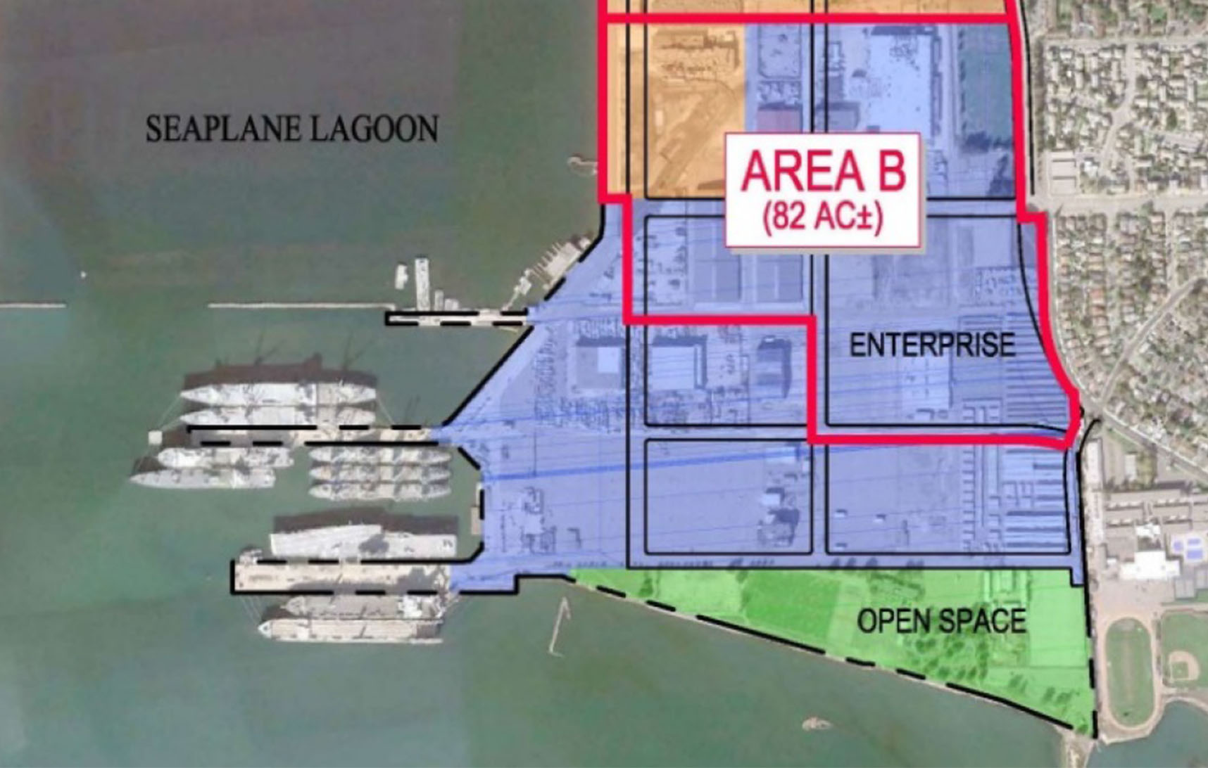 City of Alameda  The city plans to promote the development of Alameda Point's Enterprise Zone, shown here as Area B, with a  campaign to attract developers.