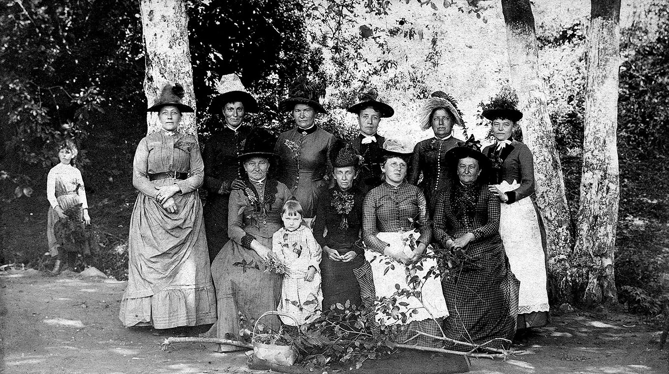 Immanuel Lutheran Church  The Ladies' Aid Society posed for this photo around the time they stepped in to help fund the creation of today's Immanuel Lutheran Church building. The ladies raised funds through coffee socials and sauerkraut dinners.