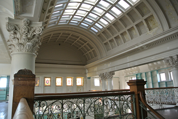 The glorious architectural details inside the Alameda Carnegie Library will be available to the public once more if the Pacific Pinball Museum's plan comes to fruition. Photo by Michael Schiess