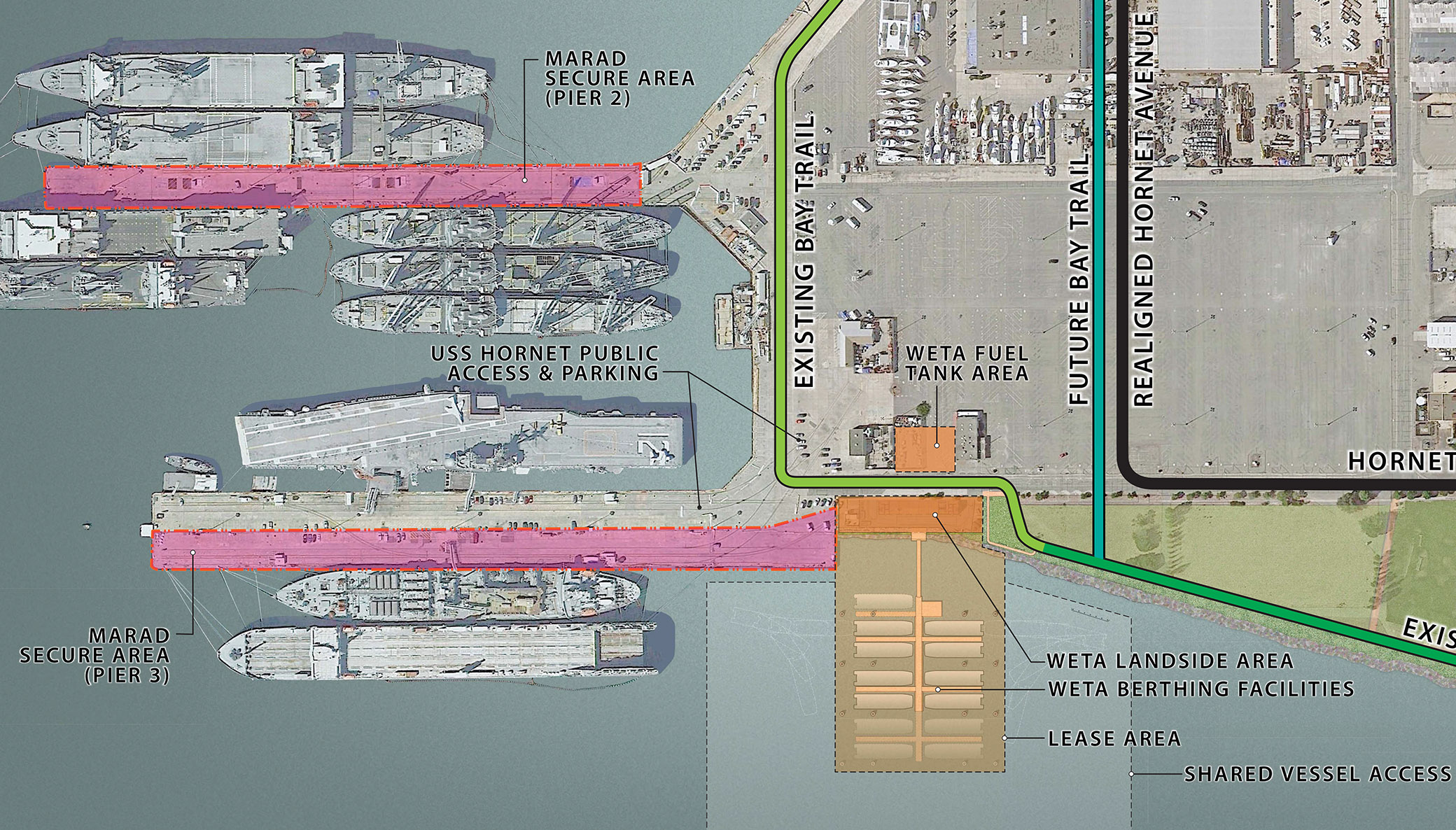 City of Alameda photo -  WETA's plans for its maintenance facility at Alamada Point will do away with a harbor seal haul out and place fuel tanks near an existing electric substation. Both are show in orange on this aerial view.