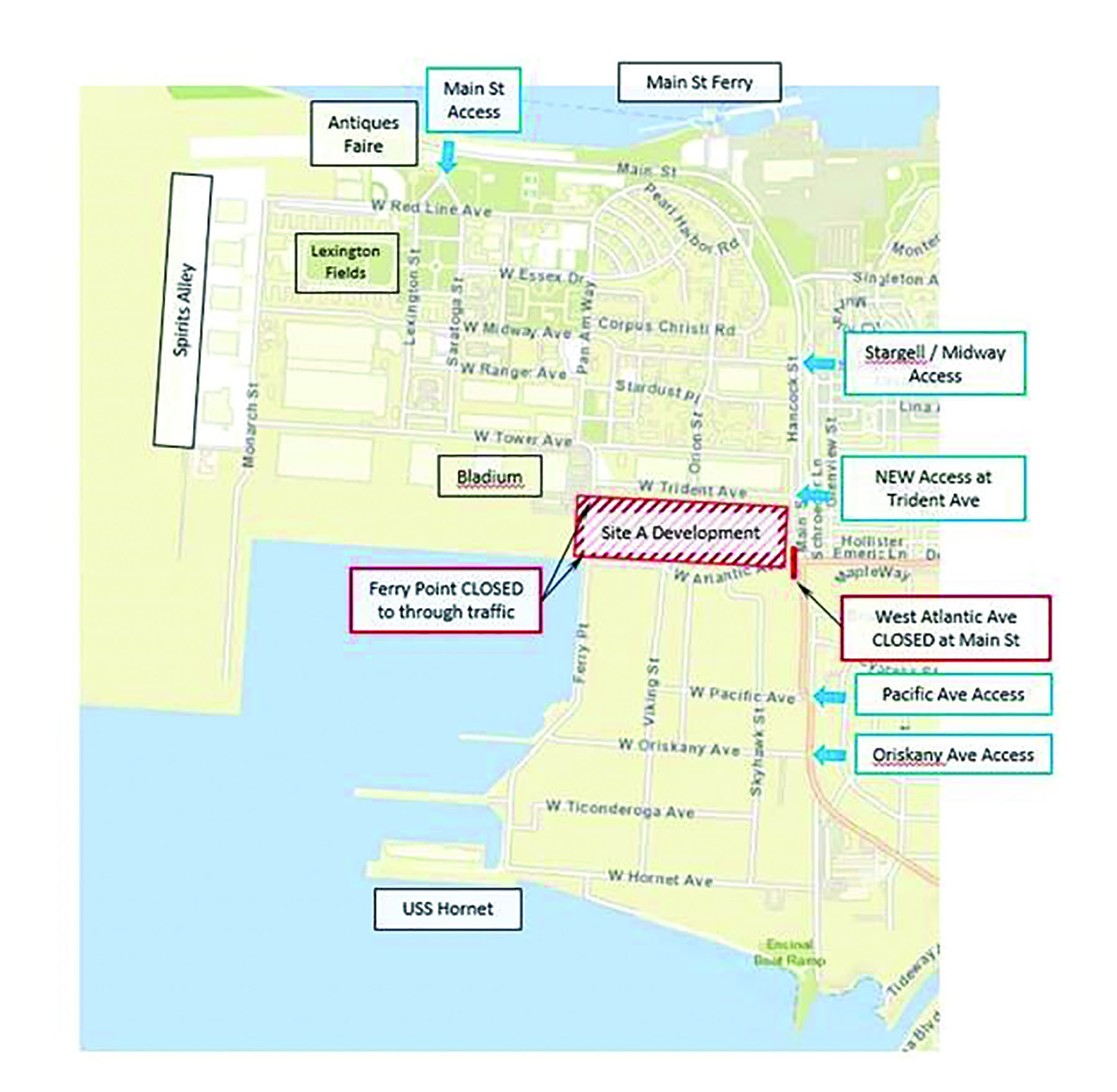 City of Alameda &nbsp&nbsp The city provided this handy map to help understand the changes to traffic flow at Alameda Point that will take effect next Tuesday.