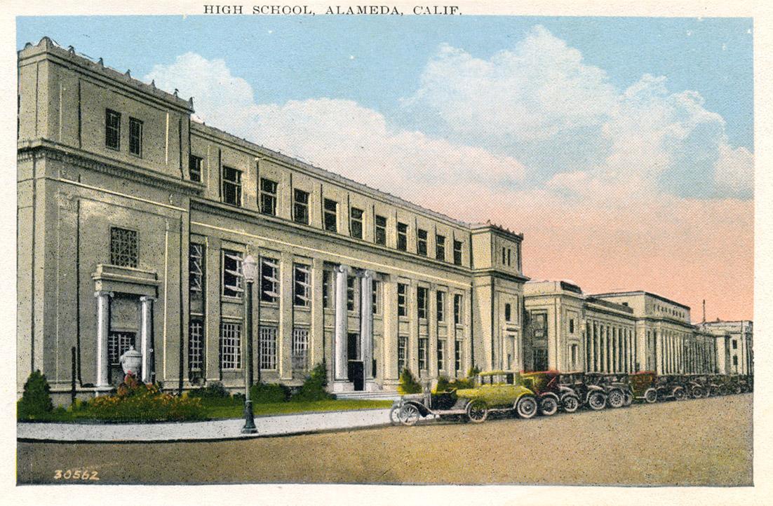 Courtesy www.alamedainfo.com &nbsp&nbsp Alameda High School as it appeared in a 1930s-era postcard. The building dates to 1924.