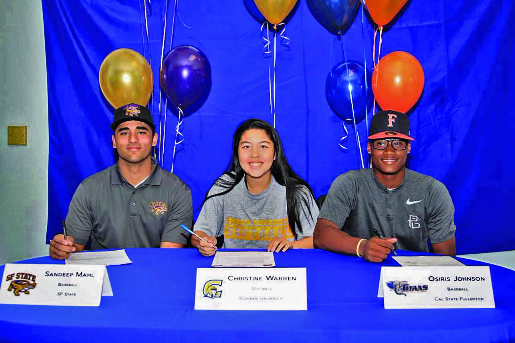 Courtesy photo &nbsp&nbsp Encinal High Student Athletes who signed on with college teams last month, left to right: Sandeep Mahl, San Francisco State University; Christine Warren, Corban University; Osiris Johnson, Cal State Fullerton.