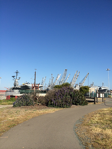 Photo by Jeff Cambra. The San Francisco Bay Trail comes to an abrupt end near the USS Hornet at Alameda Point. As the Point develops, the city plans to extend the trail.