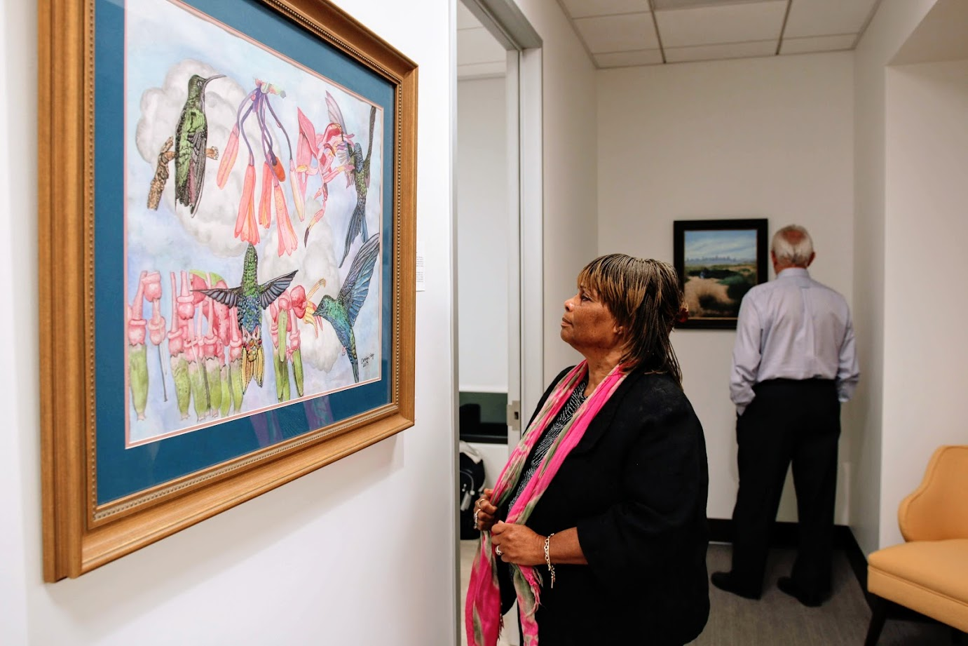 Shaily Gupta &nbsp&nbsp Members of Mastick Senior Center's drawing and painting classes opened an exhibition of their works at Calyx Health last week. The public is invited to view the works during the clinic's regular office hours: Monday through Friday, 8 a.m. to 4 p.m.