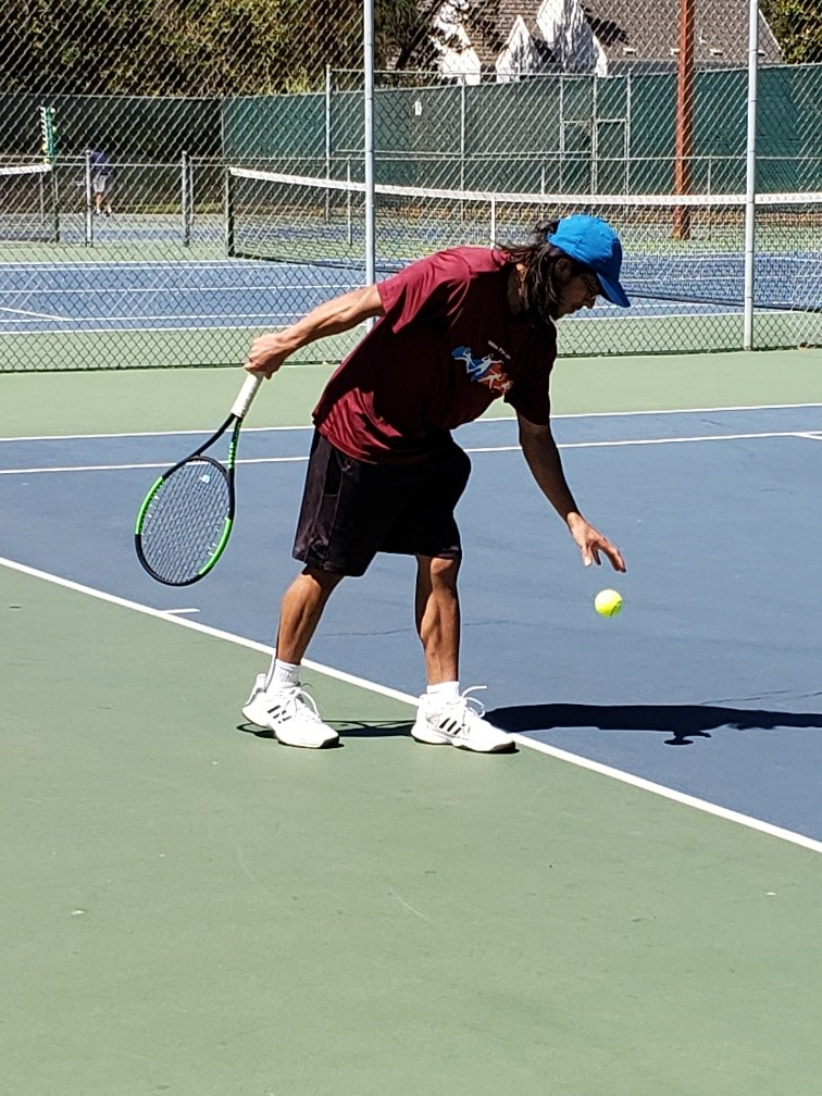 Alex Pryshchepa &nbsp&nbsp David Sandoval gets ready for his serve attempt at the 106th annual Alameda City Tennis Tournament the weekend of Sept. 6 to 8. Sandoval won the men's singles Division 4.5 tournament at the event. More than 160 people participated in 16 different competitions at the event.
