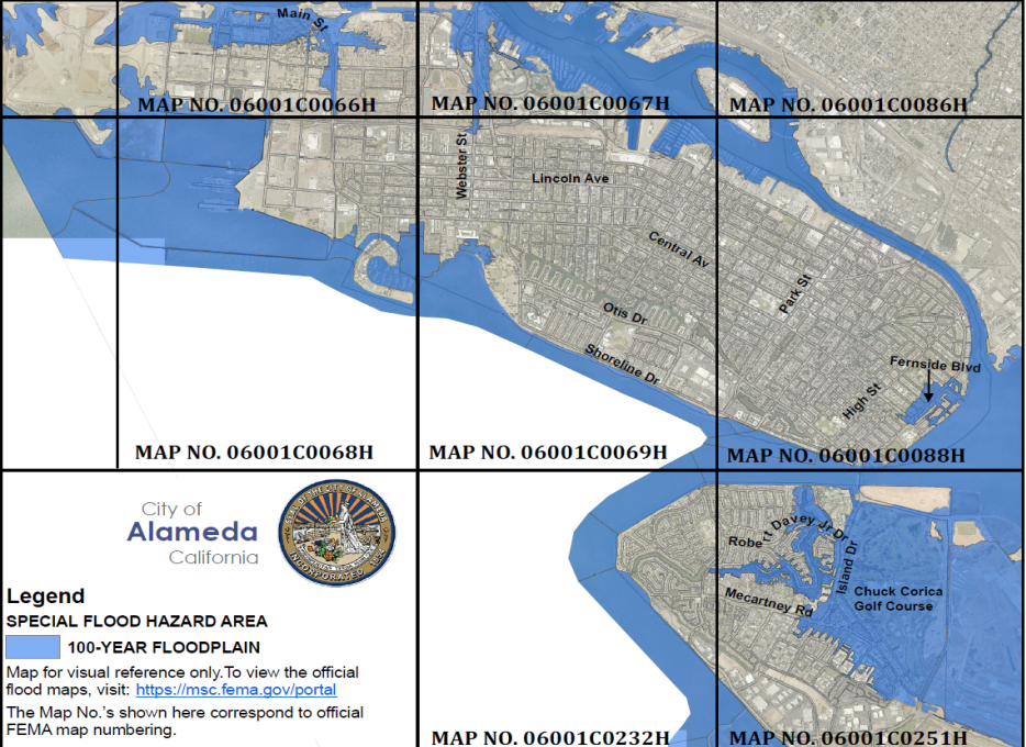 Courtesy photo &nbsp&nbsp The revised FEMA 100-year floodplain maps show impacted areas including the city's golf course, Bay Farm Island, a section of the East End along Fernside Boulevard, Crab Cove and Alameda Point.