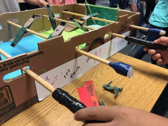 Courtesy photo &nbsp&nbsp Franklin fifth-graders created this foosball table from a environmentally friendly packaging and a few other basic materials.