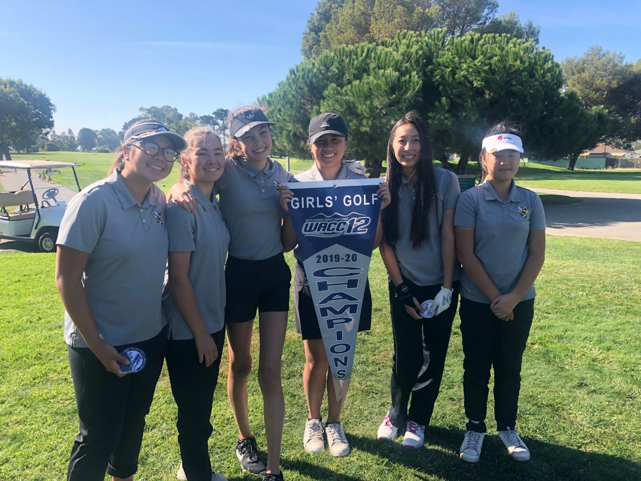 Michael Heng &nbsp&nbsp Alameda Hornets women's golf players left to right: Sidney Heng, Giselle Morris, Nola Weston, Ashley Heng, Penny Chai and Hannah Kwon, celebrate after winning their 13th-straight league title on Oct. 14.
