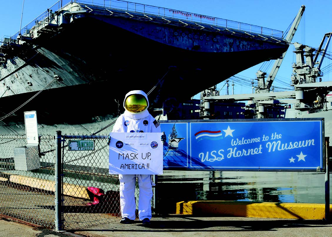 Courtesy Bob Fish The Hornet's resident spaceman encourages visitors' safety by reminding them to wear a mask.