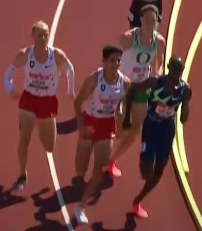 Cooper Teare (top) finished fourth in the 5,000-meter meet behind Paul Chelimo (right), Grant Fisher (bottom) and Woody Kincaid (left).