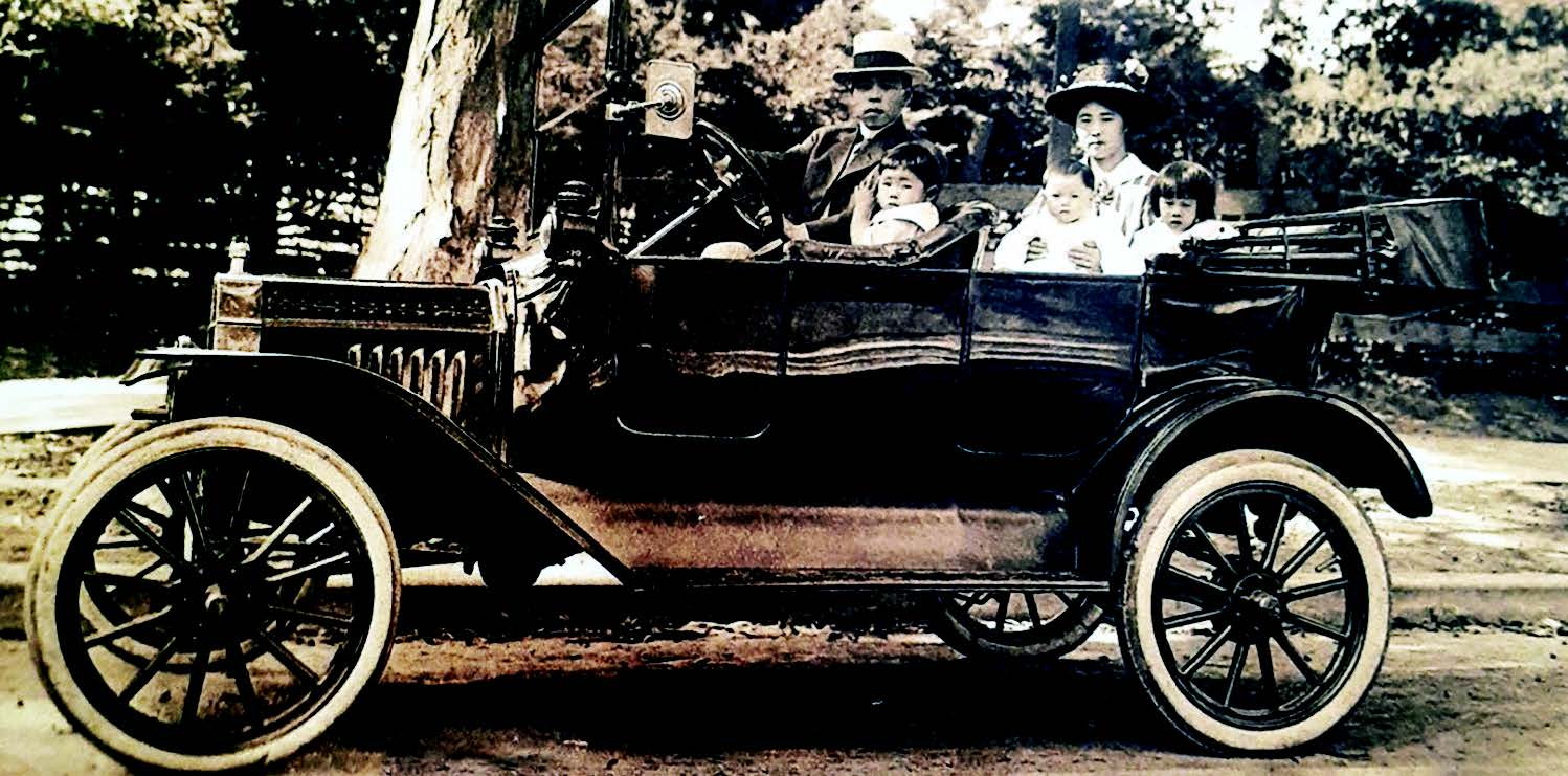 The Iwaihara familiy pose in their Model T near the Fernside District around 1916.