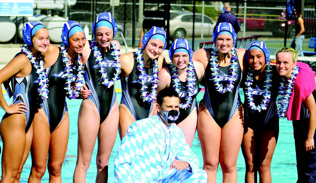 Encinal High School's Water Polo poses for Senior Night before defeating Alameda High School, 12-2, on May 21.