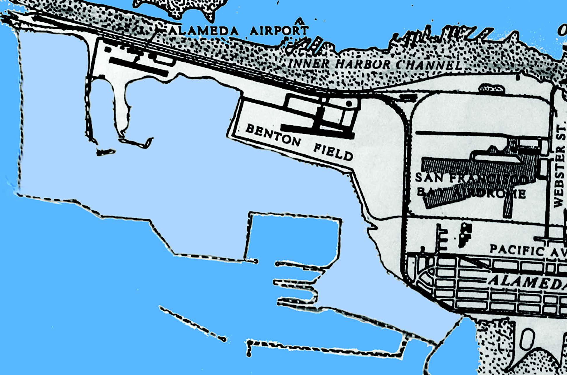 Two airports served Alameda and one the Army Air Force before the United States Navy arrived in 1940. (From left to right): Alameda Airport opened in 1929 on a strip of land along the Oakland Estuary. Benton Field opened in 1927. This Army Air Force field was bounded roughly by today's Pan Am Way, West Red Line Avenue, Monarch Street and West Tower Avenue. In 1930, planes began landing at the San Francisco Airdrome, which stood on the site of today's College of Alameda. The light blue on the map defines the