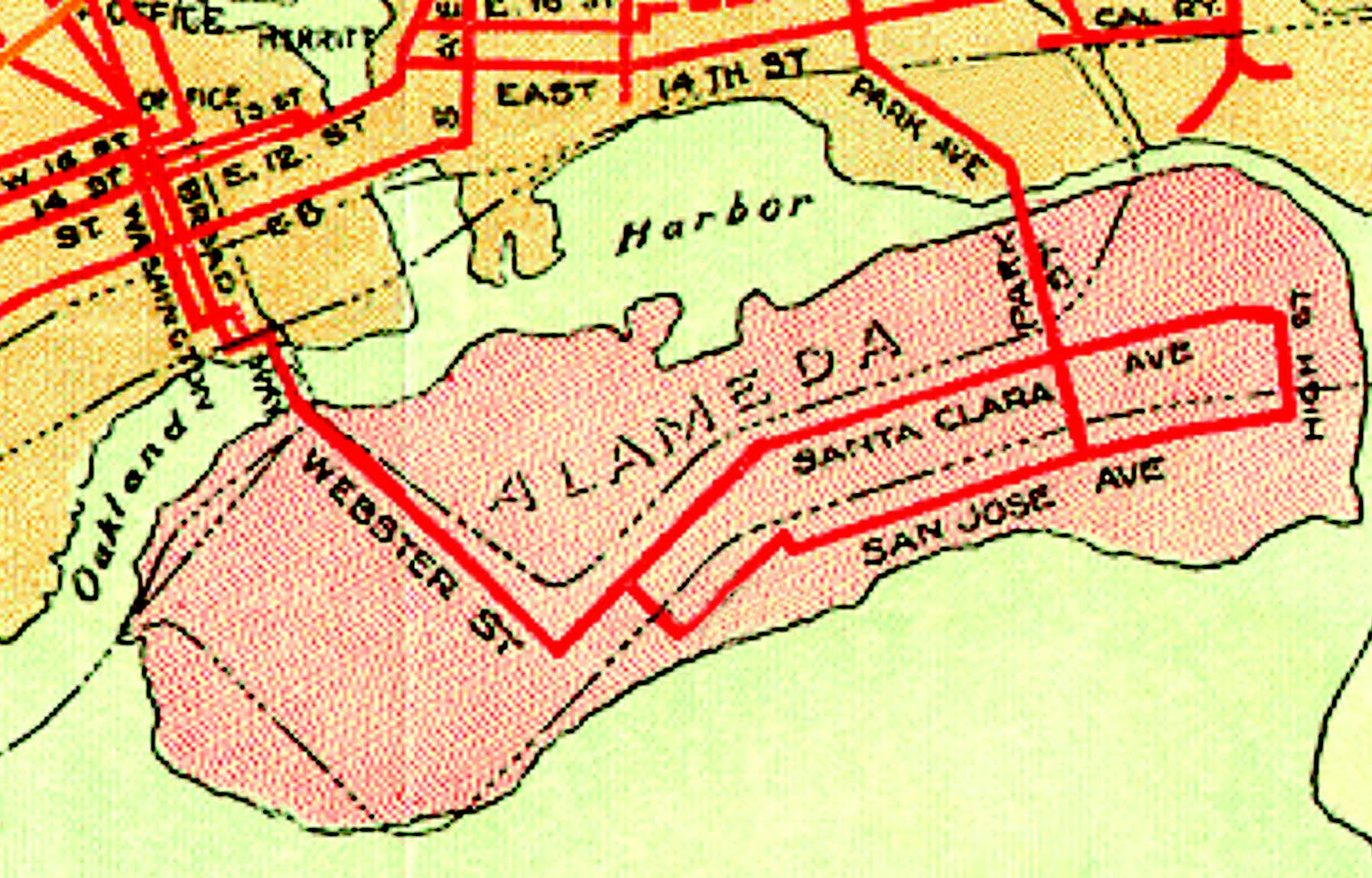 "BayAreaRailFan.org The red lines on this 1911 map depict the Alameda streetcar system under the aegis of the Oakland Traction Company, which was part of Francis Marion ""Borax"" Smith's Key System. The black dotted lines show the Southern Pacific Railroad's broad-guage tracks that would become part of the East Bay Electic Lines the year this map was created. East Bay Electric Lines carried the Big Reds. Note the absence of today's Coast Guard Island at the word ""Harbor."" The federal government did not create"