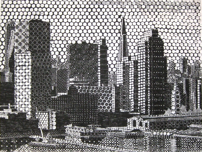 """A woodcut titled """"The Waterfront"""" by Gary Comoglio and works by many other Bay Area artists go on display tomorrow night as part of Urban Grit."""