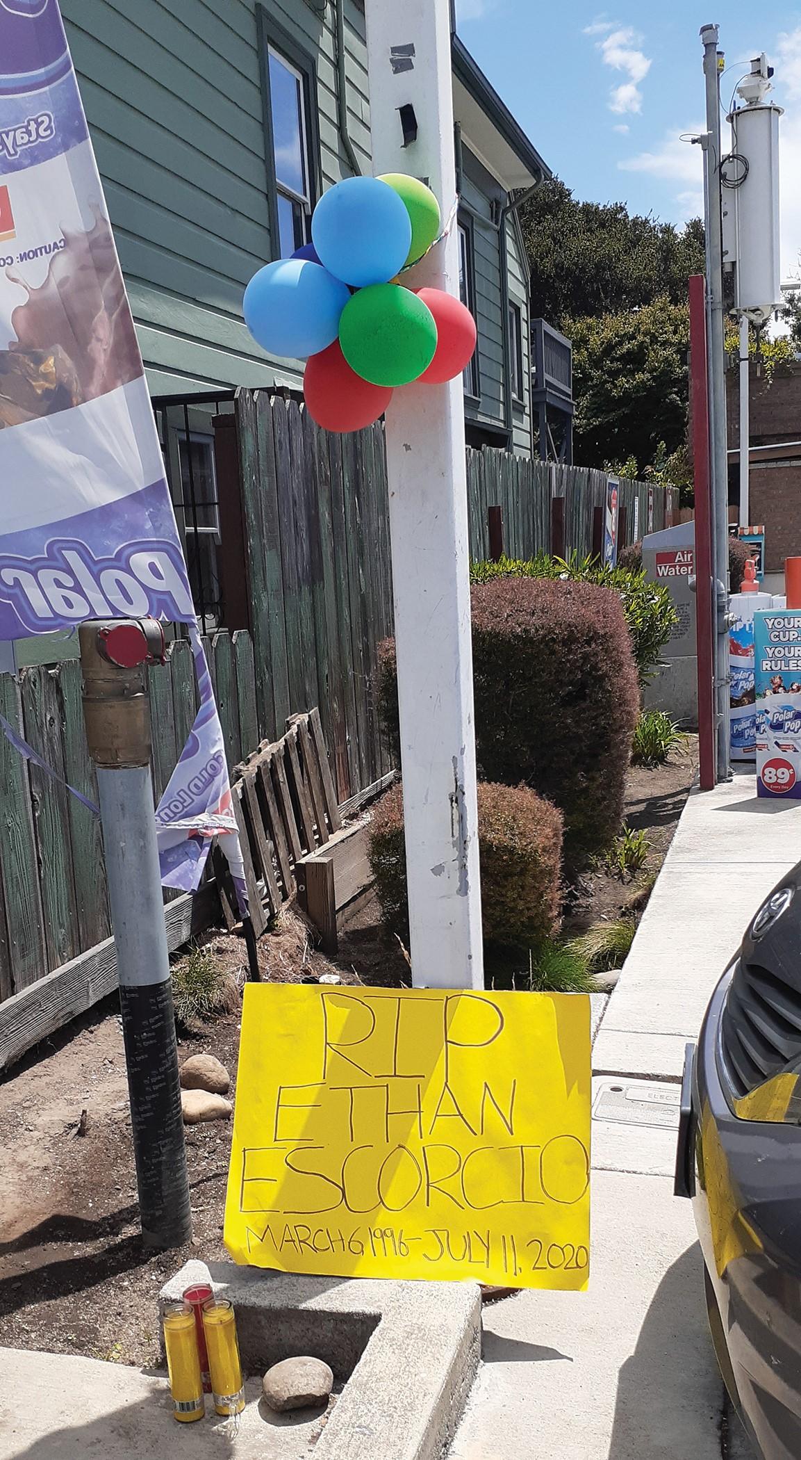 Courtesy Photo &nbsp&nbsp The rather pathetic balloon memorial for Ethan Escorcio, courtesy of the Juan Cobo Memorial Women's Soccer League.