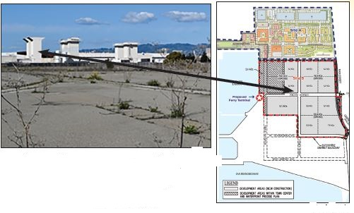 Richard Bangert  City of Alameda Partial view of the 22-acre commercial and light industrial parcel, shown in full in the map at right as Site B. The white stacks in the background are at the former Navy jet engine test facility that is now used by Astra to test its rocket engines.