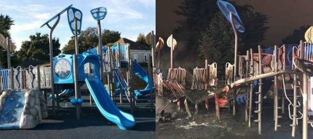 Courtesy photos &nbsp&nbsp Woodstock play structure before the fire (left) and after.
