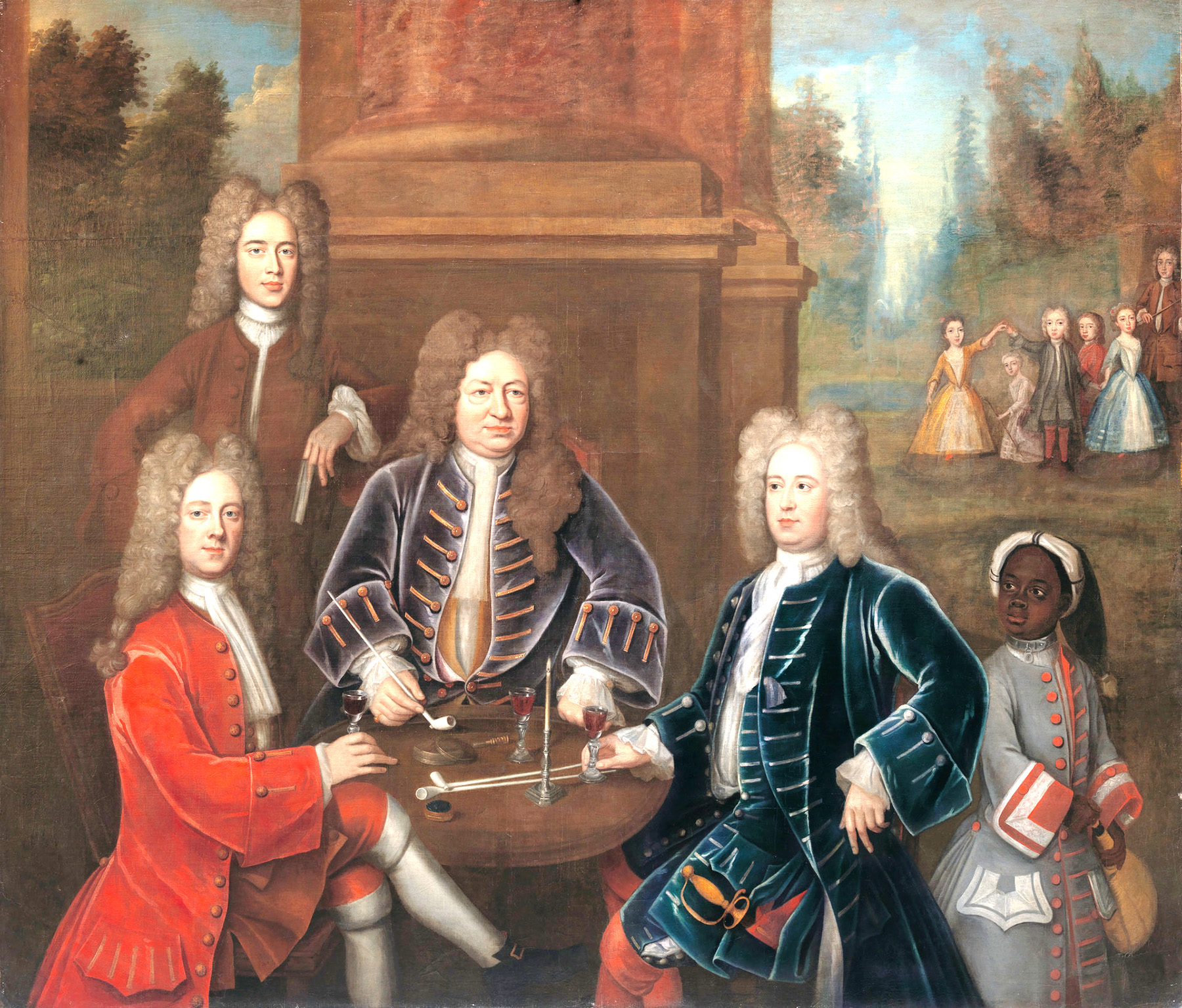 Yale Center for British Art &nbsp&nbsp This painting commemorates the signing of the marriage contract that sealed the union of Elihu Yale's daughter Anne to James Cavendish. Yale sits in the center with his pipe. William Cavendish, second Duke of Devonshire, sit on Yale's right and his younger brother James, the betrothed, on Yale's left. An attorney identified as Tunsdale stands on the painting's left.