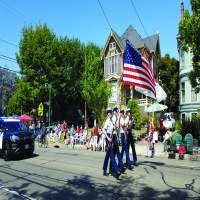 The Coast Guard color guard starts the parade every year.