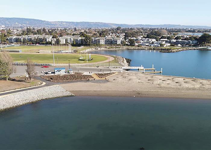 This aerial view highlights the recently restored dunes, beach and boat launch next to Encinal High School.