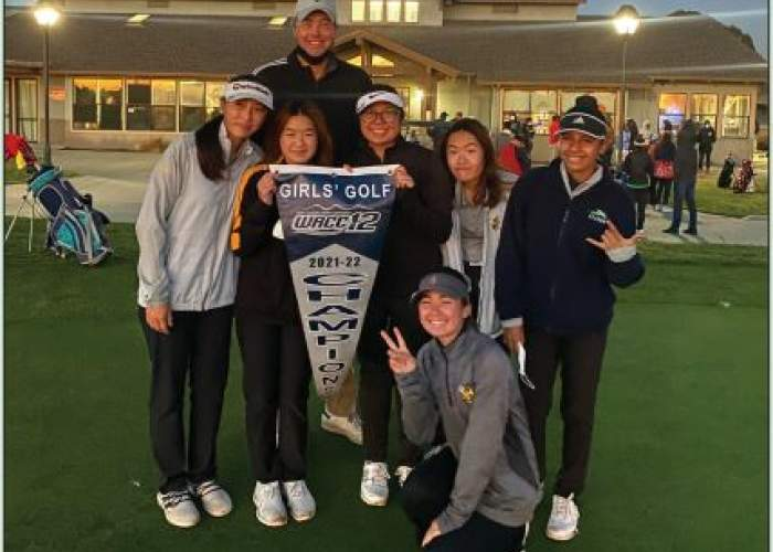 The Alameda High School Women's Golf team poses after winning the 2021 - 2022 West Alameda County Conference Championship.