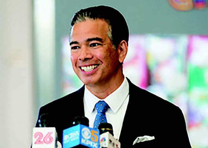 Maurice Ramirez Rob Bonta, pictured here during Gov. Gavin Newsom's visit to Ruby Bridges Elementary School, is slated to become California's next Attorney General.