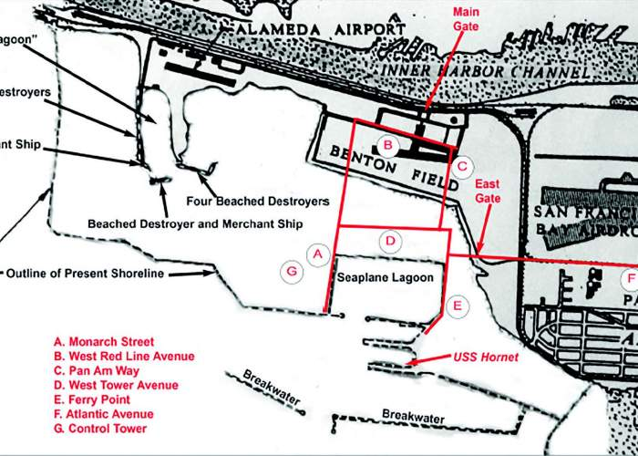 The gray areas in this map show the land before the Navy built the air station, whose outline is shown. Three airports are visible on this map: Alameda Airport now buried under runways; Benton Field, now covered by part of the mall and San Francisco Airdrome, on the site of today's College of Alameda.