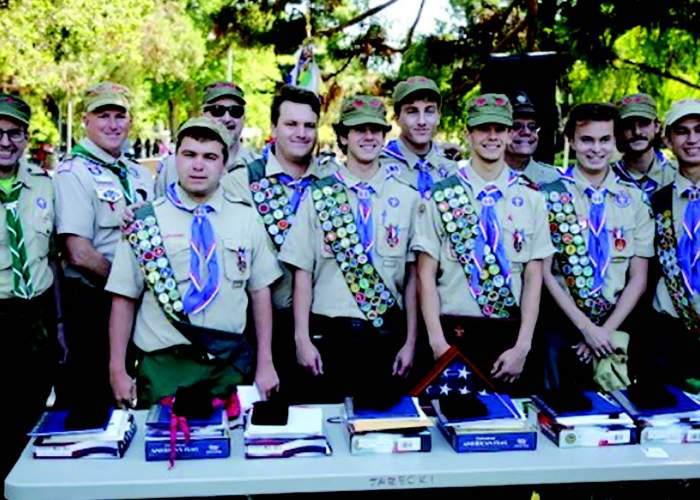 Pictured from left to right: leaders Mark Sifling and Mike Panos, scout Henry Banchieri, leader Lee Rosen, scouts Brendan Cook, Eric Jarecki, Tibor Thompson, Andrew Jarecki, leader Neal Jarecki, scouts Zachary Quayle, Vander von Stroheim and Jonathan Hildreth.