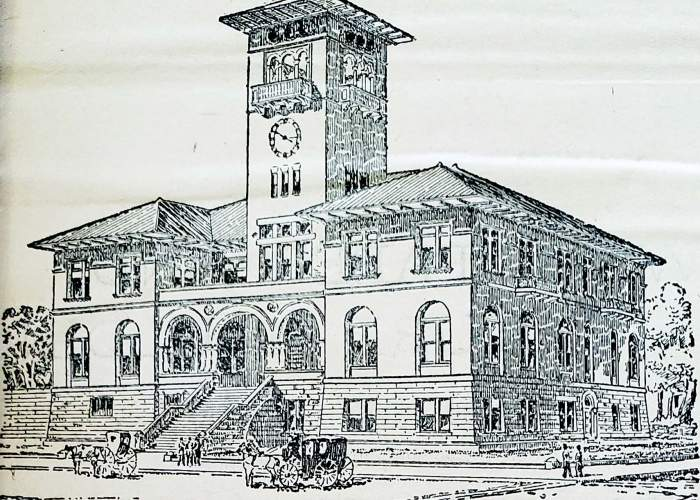 The Alameda Daily Evening Encinal newspaper of Sept. 25, 1894, carried this conceptual sketch of a new potential Alameda City Hall. The paper boldly tried to convince its readers the cost of construction was a good investment.
