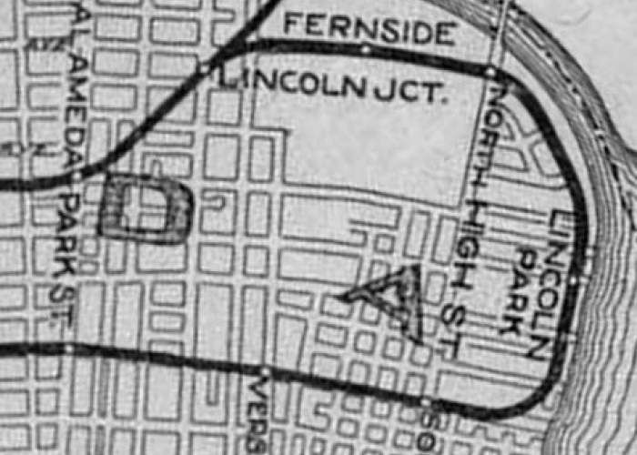 """Library of Congress This 1927 map shows the """"Fernside Loop"""" that carried automobile traffic and Southern Pacific electric trains beginning in 1911. Notice that the loop, today's Fernside Boulevard ran along the San Leandro Bay shoreline. Developers filled land east of Fernside."""