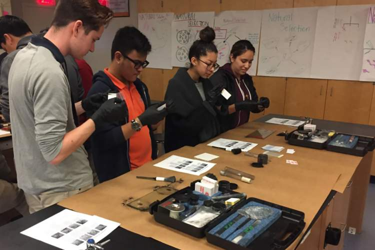 Saint Joseph Notre Dame&nbsp&nbsp Students perform a variety of activities during a visit from the FBI's San Francisco Evidence Response Team.