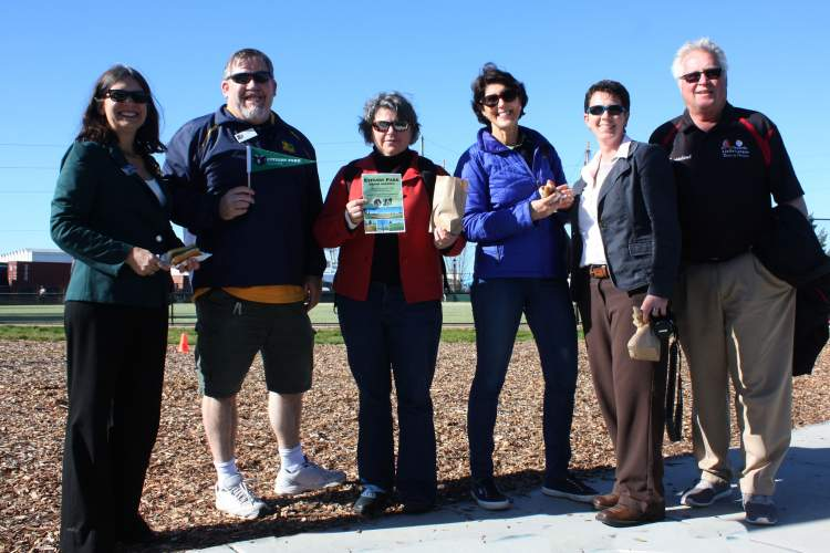 Dennis Evanosky &nbsp&nbsp  Dignitaries attending Saturday's grand opening of Estuary Park included: (from left to right) Mayor Trish Spencer, Recreation and Parks Department Recreation Manager Patrick Russi, Assistant City Manager Liz Warmerdam, City Councilmember Marilyn Ezzy Ashcraft, Recreation and Parks Department Director Amy Wooldridge and Alameda Little League President Ron Matthews.