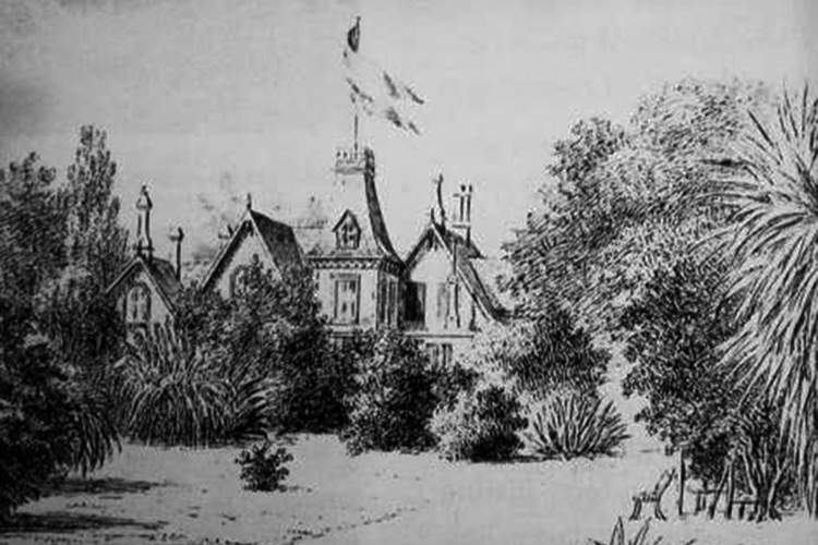 "Courtesy Arthur A. Shilt &nbsp&nbsp This sketch shows James D. Farrell's home ""Homebush"" in today's Lincoln Park."