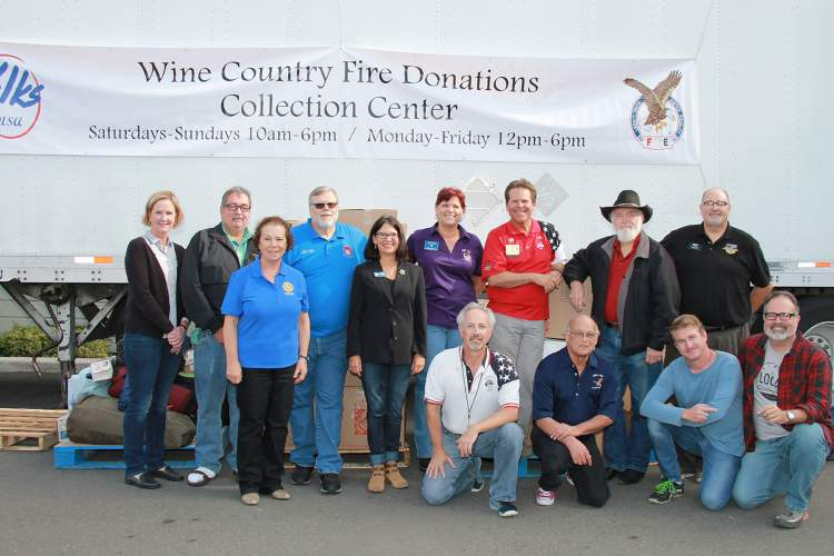Courtesy photo &nbsp &nbsp Community volunteers stand with Mayor Trish Spencer as they help victims of the North Bay Firestorm.