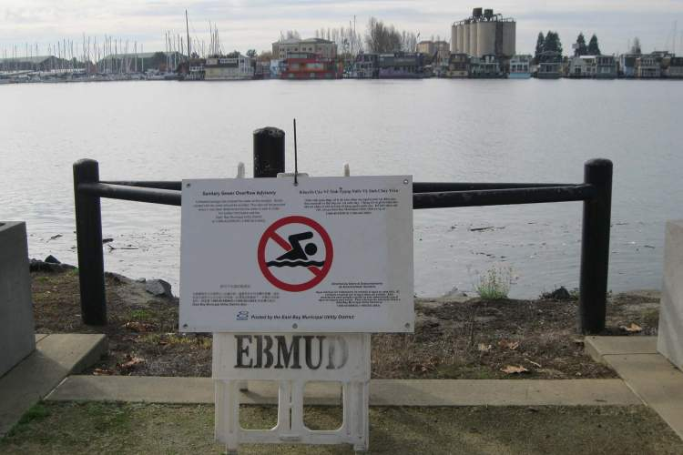 Courtesy EBMUD  The East Bay Municipal Utilities District that handles waste-water disposal put up this sign warning locals of a sewage spill in the estuary across from Alameda's Barnhill Marina. The ban on swimming has since been lifted and the area deemed safe.