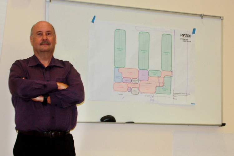 Dennis Evanosky &nbsp&nbsp Alameda Point Collaborative Executive Director Doug Biggs invites the public to tour the future Alameda Wellness and Medical Respite Center on McKay Avenue this weekend. Above, Biggs stands in front of plans for the center still under review.