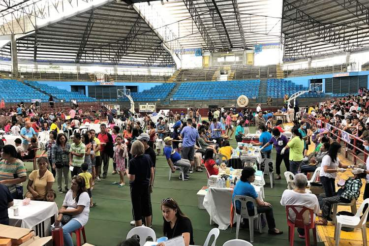 Courtesy photo  Over the five-day mission, outpatient medical services were provided at the Lamberto Macias Sports Complex from 7 a.m. to 5 p.m. each day.