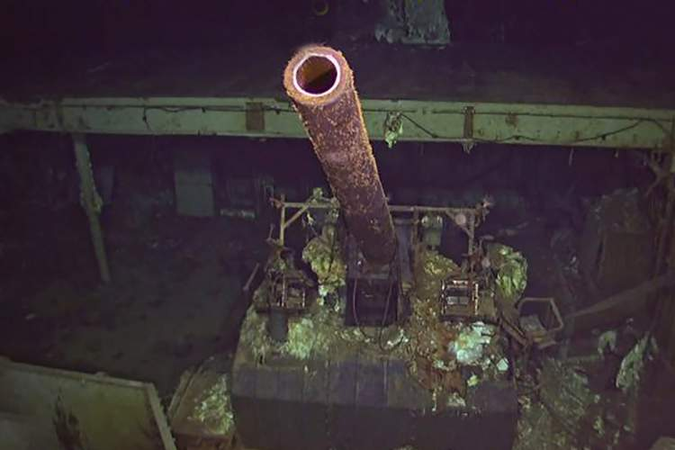 PaulAllen.com &nbsp&nbsp A research team on board the R/V Petrel discovered the wreckage of the USS Hornet CV-8 earlier this month. The team released this photo of one of the Hornet's 12 five-inch naval guns that defended the ship from air attack. These guns could fire 16 to 20 rounds per minute. The Hornet CV-8 left the Alameda Naval Air Station on April 1, 1942, to carry out the Doolittle Raid. The Hornet was lost on Oct. 26, 1942, after sustaining heavy damage during the Battle of the Santa Cruz Islands.