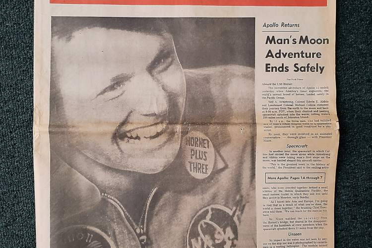 "From the Alameda Sun collection &nbsp&nbsp A copy of the San Francisco Chronicle from exactly 50 years ago today. The caption under the photo reads: ""Neil Armstrong, first man to walk on the moon, aboard the aircraft carrier Hornet, July 24, 1969."" Note the button on Armstrong's lapel celebrating that the three Apollo 11 astronauts had come aboard safely"