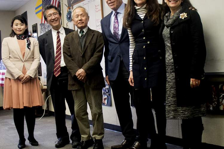 Dennis Evanosky &nbsp&nbsp Two Japanese educators recently visited Alameda Science and Technology Institute as part of their studies of the American education system. Mayor Trish Spencer was on hand to welcome the visitors (from left to right) Hideo Sugao (interpreter), Dr. Masahiro Nil, Dr. Tomohito Harada, ASTI teacher Brian Rodriguez, Marilyn Rodriguez and Spencer.